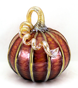 Large Harvest with Gold Stripes Pumpkin by Ken Hanson and Ingrid Hanson (Art Glass Sculpture)