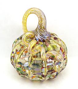 Confetti with Gold Stripes Pumpkin by Ken Hanson and Ingrid Hanson (Art Glass Sculpture)