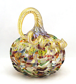 Small Confetti Pumpkin by Ken Hanson and Ingrid Hanson (Art Glass Sculpture)