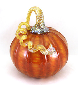 Large Orange Harvest Pumpkin by Ken Hanson and Ingrid Hanson (Art Glass Sculpture)