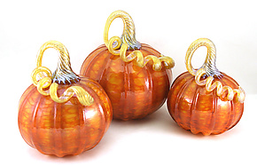Orange Harvest with Gold Pumpkins by Ken Hanson and Ingrid Hanson (Art Glass Sculpture)