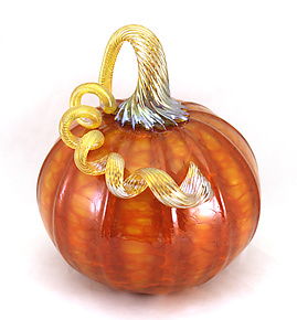 Medium Orange Harvest by Ken Hanson and Ingrid Hanson (Art Glass Sculpture)