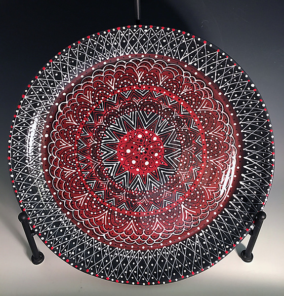 Intricate Black & Red Platter II