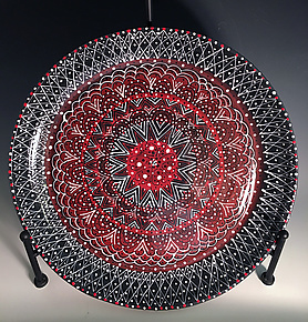 Intricate Black & Red Platter II by Jean Elton (Ceramic Platter)