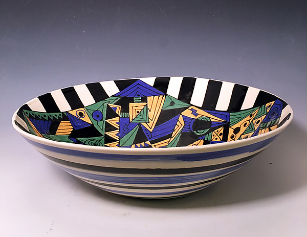 Geometric Bowl with Checkerboard Frame