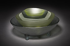 5 Spike Bowl Set in Neutrals by Hudson Beach Glass (Art Glass Bowls)