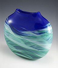 Blue Green Medallion Vase by Mark Rosenbaum (Art Glass Vase)
