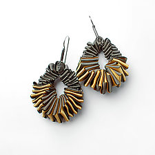Turning Earrings #1 by Sophia Hu (Polyester & Stainless Steel Earrings)