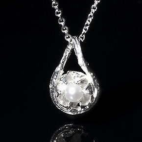 Bright Silver Crepe Myrtle Pendant with Pearl by Diana Eldreth (Silver & Pearl Necklace)