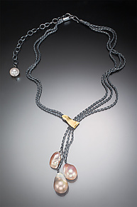 Three Pearl Necklace by Suzanne Schwartz (Gold, Silver & Pearl Necklace)