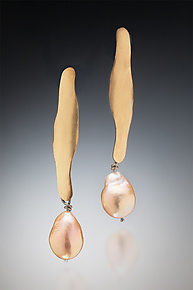 Long Pearl Earrings by Suzanne Schwartz (Gold, Silver & Pearl Earrings)