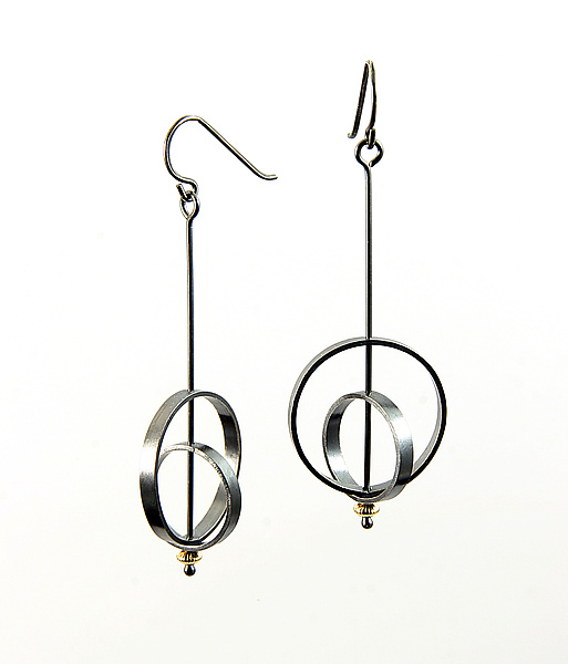 Orbit Earrings with Gold Bead
