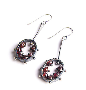 Oval Drop Earrings by Erica Stankwytch Bailey (Silver & Stone Earrings)