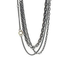 Mixed Chain Necklace with 14K Gold by Kendra Renee (Gold & Silver Necklace)