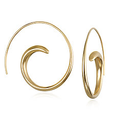 14K Gold Swirl Hoops by Suzanne Q Evon (Gold Earrings)