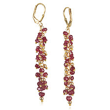 Ruby Waterfall Earrings by Suzanne Q Evon (Gold & Stone Earrings)