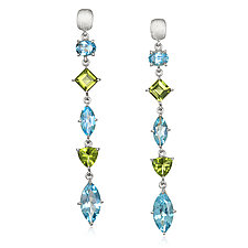 Blue Topaz, Peridot, and Sterling Drop Earrings by Suzanne Q Evon (Silver & Stone Earrings)