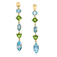 Blue Topaz, Peridot, and Gold Drop Earrings by Suzanne Q Evon (Silver & Stone Earrings)