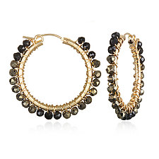 Medium Spinel Hoops by Suzanne Q Evon (Gold & Stone Earrings)