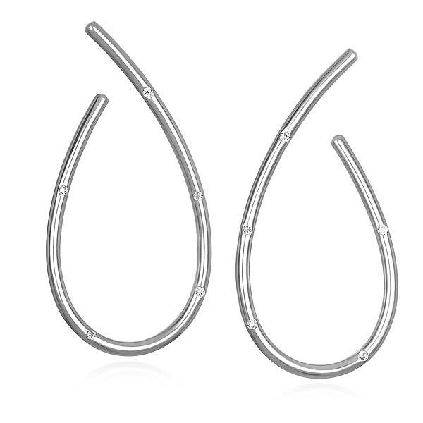 Sterling Silver and White Sapphire Loop Earrings