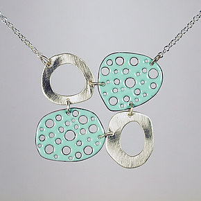 Mod Perforated Choker in Robin's Egg by Beth Novak (Enameled Necklace)