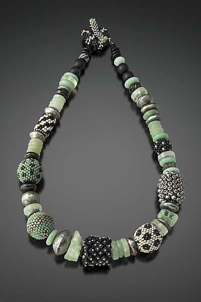 Celadon, Black, and Silver Beaded Bead Necklace