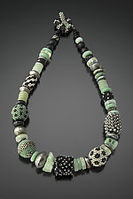 Celadon, Black, and Silver Beaded Bead Necklace by Julie Powell (Beaded Necklace)