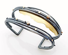 Diamond Reef Cuff by Sydney Lynch (Gold, Silver & Stone Bracelet)
