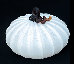 Squat White Gourd 0867 by Hudson Beach Glass (Art Glass Sculpture)