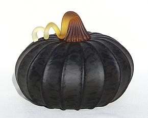 Black Gourd 0854 by Hudson Beach Glass (Art Glass Sculpture)