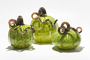 Spotted Pumpkins in Lime by Michael Trimpol and Monique LaJeunesse (Art Glass Sculpture)