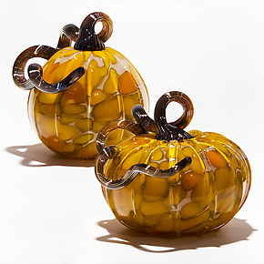 Spotted Pumpkins in Orange & Yellow Mix by Michael Trimpol and Monique LaJeunesse (Art Glass Sculpture)