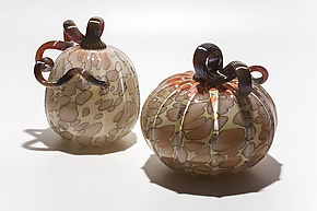 Spotted Pumpkins in Salmon-Gray by Michael Trimpol and Monique LaJeunesse (Art Glass Sculpture)