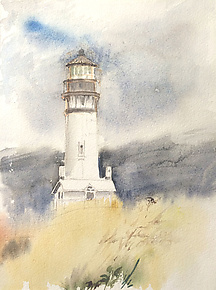 Yaquina Goodbye by Midge Black (Watercolor Painting)