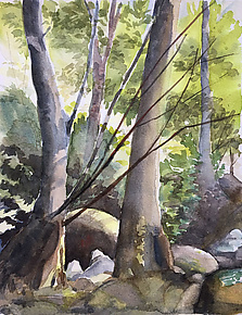 Between the Bridges by Midge Black (Watercolor Painting)