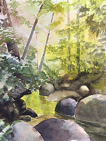 Afternoon on the Creek by Midge Black (Watercolor Painting)