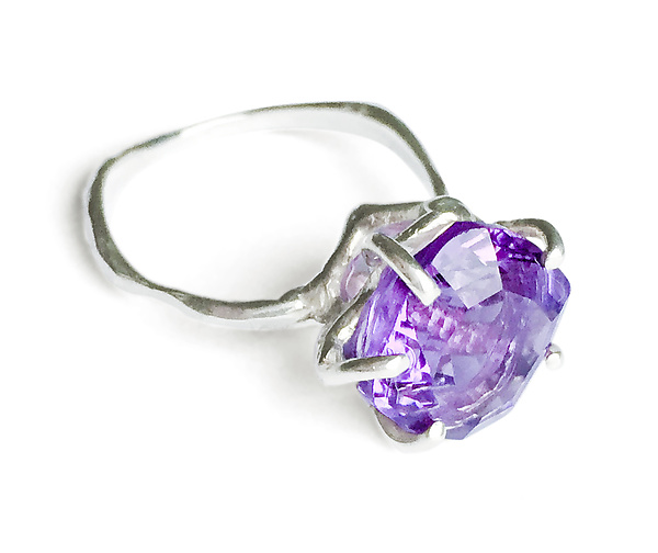 Geo Set Amethyst Ring