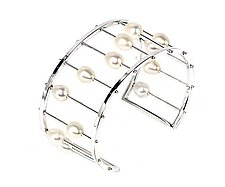 Abacus Cuff in Sterling Silver by Patricia Madeja (Silver & Pearl Bracelet)