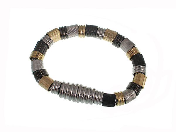 Textured Tube Magnetic Mesh Bracelet