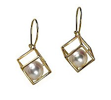 Large Cage Cubed Earring with Pearls by Patricia Madeja (Gold & Pearl Earrings)