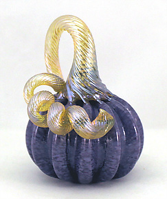 Mini Lavender Pumpkin by Ken Hanson and Ingrid Hanson (Art Glass Sculpture)