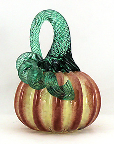 Mini Buttercup with Ruby Pumpkin by Ken Hanson and Ingrid Hanson (Art Glass Sculpture)