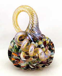 Miniature Confetti Pumpkin by Ken Hanson and Ingrid Hanson (Art Glass Sculpture)