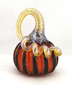 Miniature Orange Pumpkin with Black Stripes by Ken Hanson and Ingrid Hanson (Art Glass Sculpture)