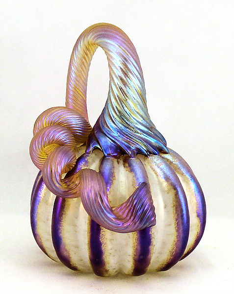 Miniature White Pumpkin with Gold Stripes