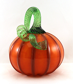 Small Yellow, Orange, and Ruby Pumpkin by Ken Hanson and Ingrid Hanson (Art Glass Sculpture)
