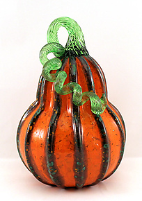 Orange with Green Stripes Gourd by Ken Hanson and Ingrid Hanson (Art Glass Sculpture)