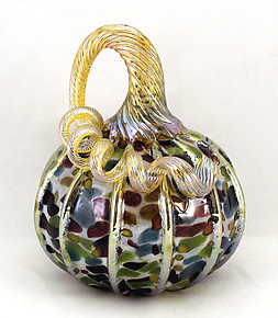 Small Opaline Mosaic Pumpkin by Ken Hanson and Ingrid Hanson (Art Glass Sculpture)