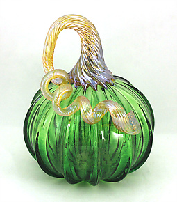 Small Moss Green Pumpkin by Ken Hanson and Ingrid Hanson (Art Glass Sculpture)