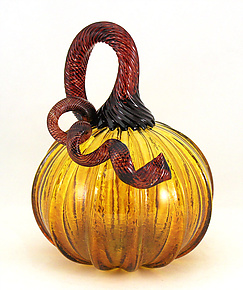 Transparent Topaz Pumpkin by Ken Hanson and Ingrid Hanson (Art Glass Sculpture)